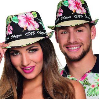 Beige Ibiza Stråhatt med Hawaii-Motiv
