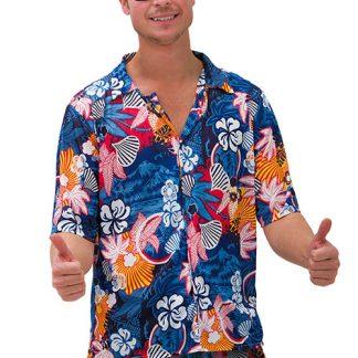 Blå Hawaii Skjorta och Shorts med Blommor - Kostym