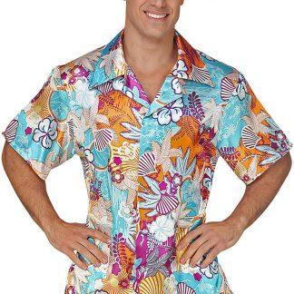 Blå Hawaiiskjorta med Blomstermotiv