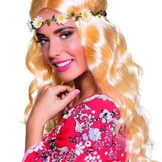Blond Hippieperuk med Blomsterkrans