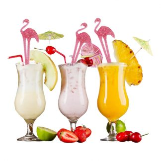 Drinkpinne Flamingo - 24-Pack