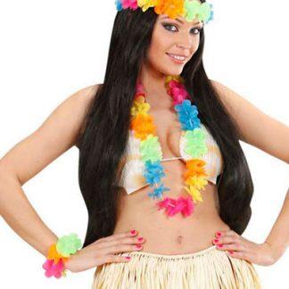 Färgglatt Hawaii Krans Set - 3 Delar