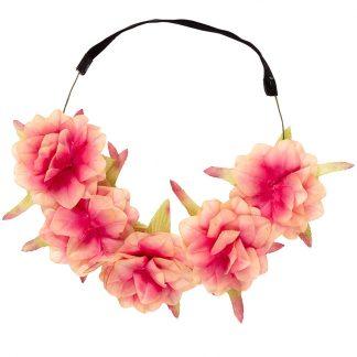 Fin Rosa och Beige Blomsterkrans