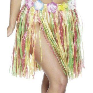 Flerfärgad Hulakjol med Blomsterkant - Hawaii-Kjol