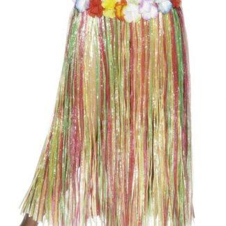 Flerfärgad Lång Hawaii-Kjol med Blomsterkant Runt Midjan