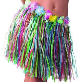 Flerffärgad Hawaii-Kjol med Blomsterkant 45 cm