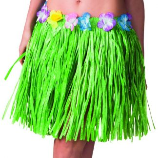 Grön Hawaii-Kjol med Blomsterkant 45 cm