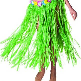 Grön Hawaii-Kjol med Blomsterkant 80 cm