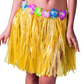 Gul Hawaii-Kjol med Blomsterkant 45 cm