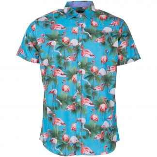 Hawaii Flamingo Shirt S/S, Sea Blue, 2xl, Pool Flamingo