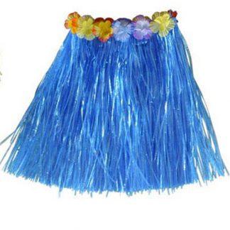 Hawaii Hula Kjol med Blommor - 40 cm Blå