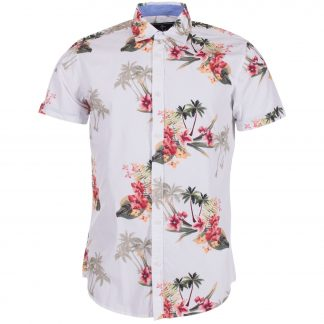 Hawaii Palm Shirt S/S, White, L, Pool