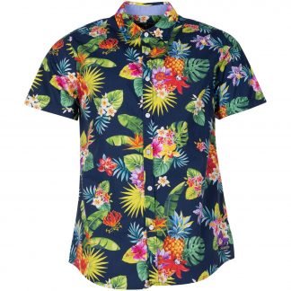Hawaii Pineapple Flower Shirt, Navy, 2xl, Pool