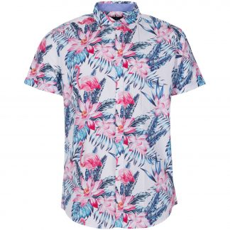 Hawaii Pink & Blue Flamingo Sh, White, L, Pool Flamingo