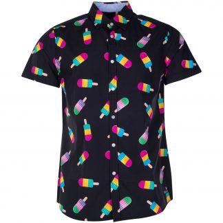 Hawaii Shirt, Black Ice Cream, 2xl, Pool
