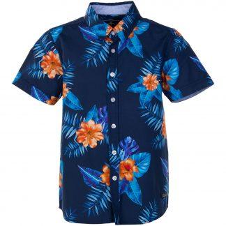 Hawaii Shirt Jr, Navy Orange Flower, 140, Pool