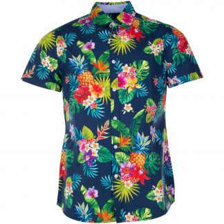 Hawaii Shirt, Navy Jungle Pineapple, L, Blount And Pool