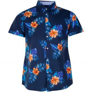 Hawaii Shirt, Navy Orange Flower, Xl, Pool