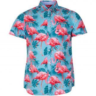 Hawaii Shirt, Turquoise Flamingo, S, Pool