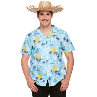 Hawaii Skjorta Blå Solnedgång