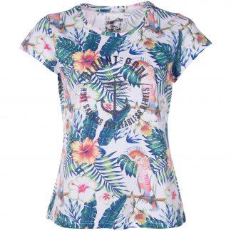Hawaii Tee W, White Kakadua Flower, 40, T-Shirts
