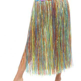 Lång Flerfärgad Hula-Kjol med Blommor 75 cm