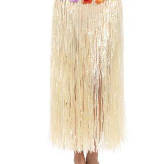 Lång Hawaii Hula-Kjol med Blommor 75 cm
