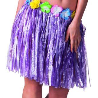 Lila Hawaii-Kjol med Blomsterkant 45 cm
