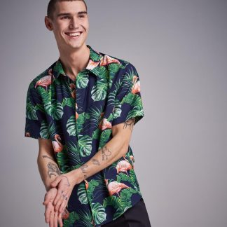 Navy Flamingo Printed S/S Shirt