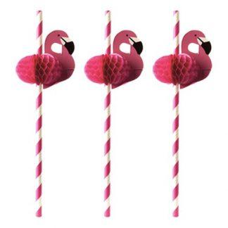 Papperssugrör Flamingos - 50-pack