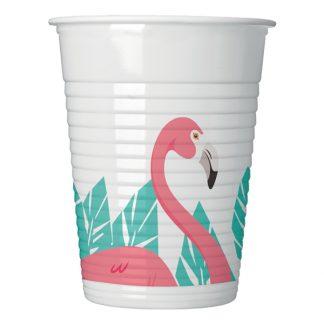 Plastmuggar Flamingo - 8-pack