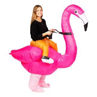 Uppblåsbar Ridande Flamingo Maskeraddräkt - One size