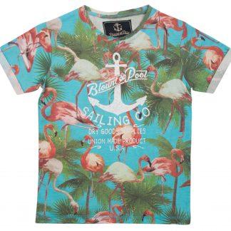 flamingo tee jr, sea blue, 100, t-shirts
