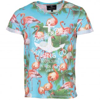 flamingo tee, sea blue, 2xl, t-shirts