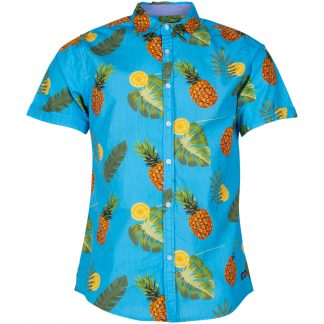 hawaii aop print shirt s/s, printed, 2xl, pool