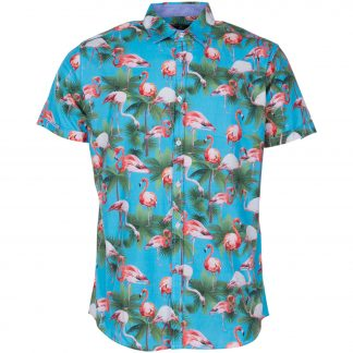 hawaii flamingo shirt s/s, sea blue, l, pool flamingo