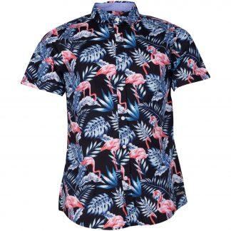 hawaii jungle flamingo shirt s, black, l, pool flamingo