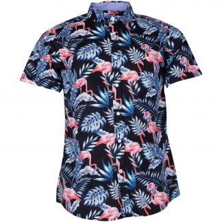 hawaii jungle flamingo shirt s, black, s, pool flamingo