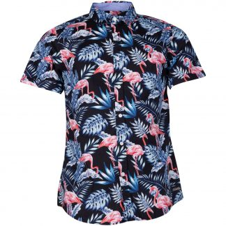 hawaii jungle flamingo shirt s, black, xs, pool flamingo