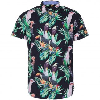 hawaii kakadua shirt s/s, black, s, skjortor