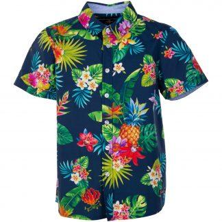 hawaii shirt jr, navy jungle pineapple, 100, pool