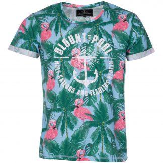 palm flamingo tee, lt blue, s, t-shirts