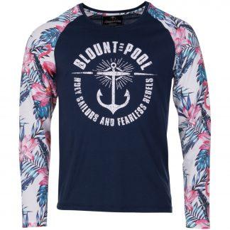 pink & blue flamingo l/s tee, navy, l, t-shirts
