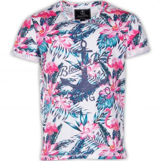 tropical tee, white pink & blue flamingo, xl, t-shirts